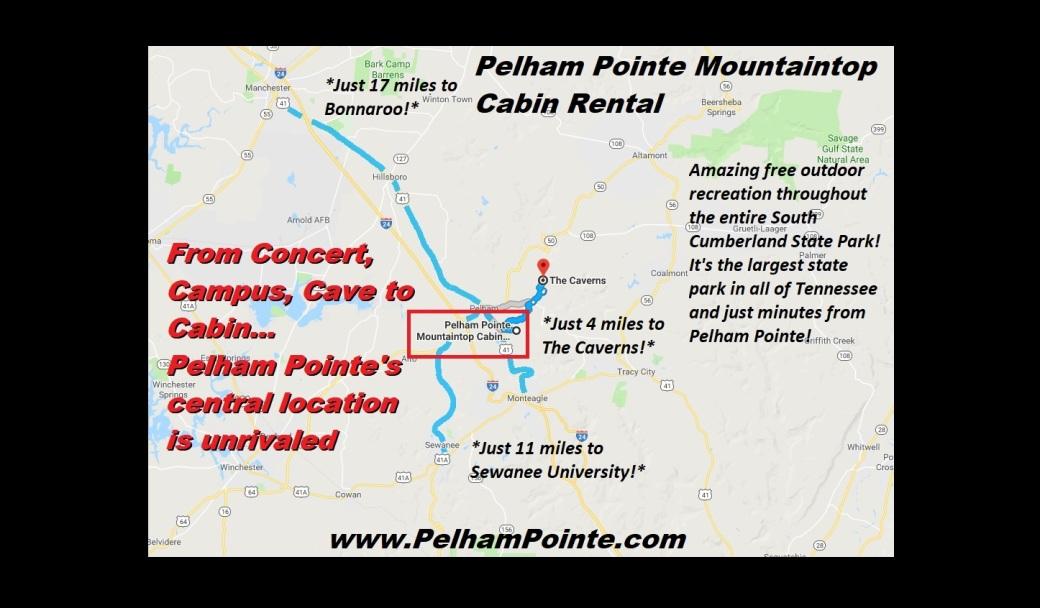 Pelham Pointe Mountaintop Cabin Central Location